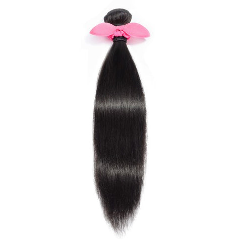 Straight Brazilian Raw Virgin Human Hair Natural Black #1B