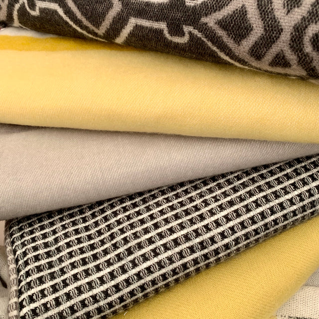 Black and white, yellow, butter yellow, raffia yellow, texture throws