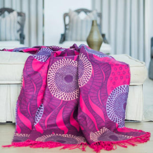 my africa, wax print, grape cerise, pink, throw