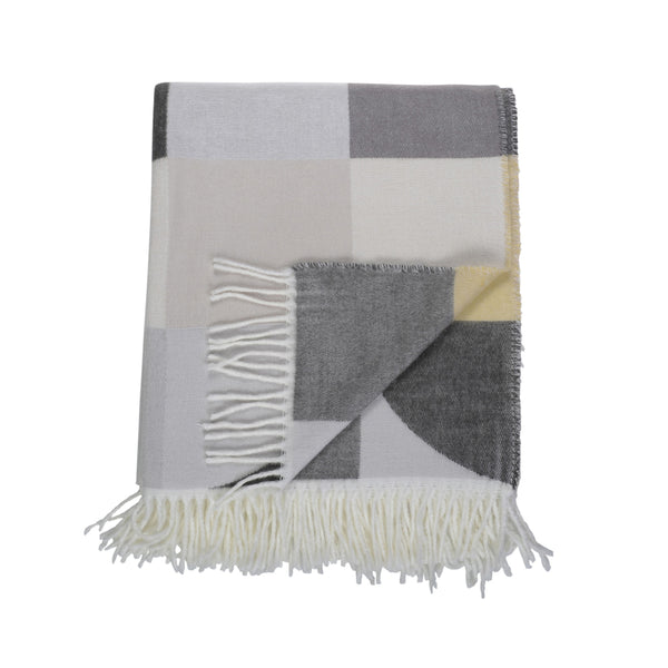 steel grey wild dove yellow bauhaus abstract pattern throw
