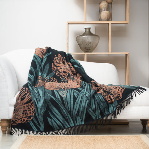 Bellavita protea pincushion firecracker black throw