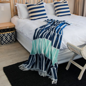 navy seafoam graphic acacia throw