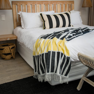 black yellow raffia graphic acacia throw