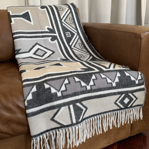 Ndebele throw grey and black geometric pattern