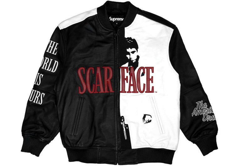 Supreme Scarface Embroidered Leather Jacket Black