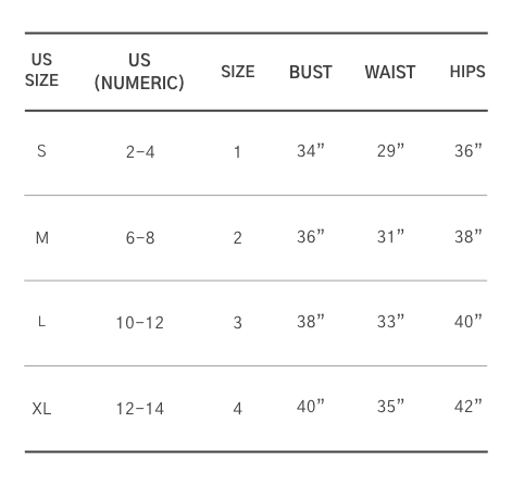 Size chart (mobile)