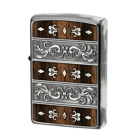 Zippo Lighter Double Wood Inlay Venetian Design Silver Smoke Finish SV