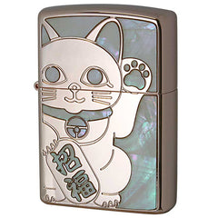 Zippo Lighter Rose Pink Shell Inlay Lucky Cat Maneki-Neko RPK