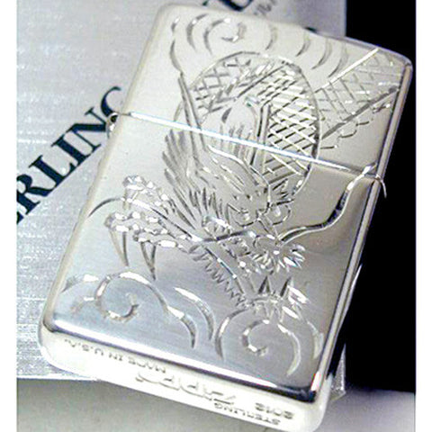 Zippo Lighter Sterling Silver Japanese Dragon Hand Engraving