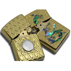 Armor Japan Zippo Lighter Both Sides Design Dragon & Fire Ball BL