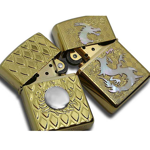 Armor Japan Zippo Lighter Both Sides Design Dragon & Fire Ball WH