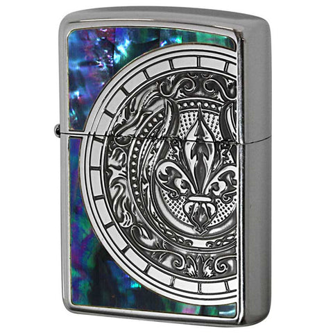 Zippo Lighter Shell Inlay Crest Lily Design