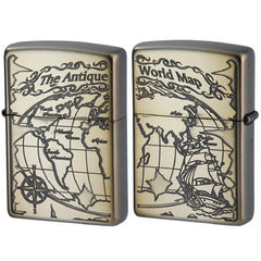 Zippo Lighter Antique World Map Both Sides Design 2WM-VNI