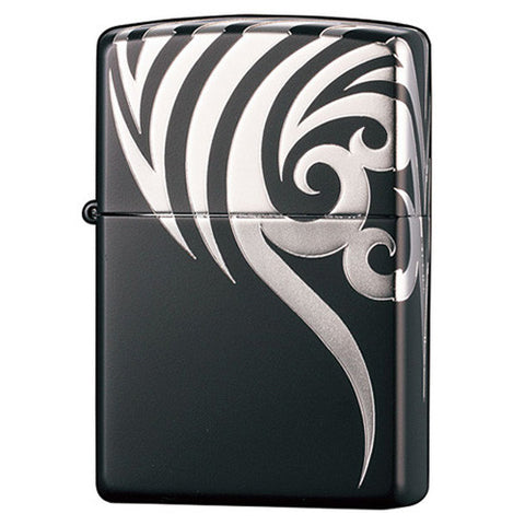 Zippo Lighter Tribal Black Silver Tatoo 4 Sides Design TRSV5