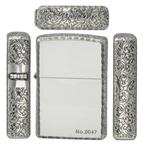 Zippo Lighter 3 sides Design Arabesque Etching Smoke Silver