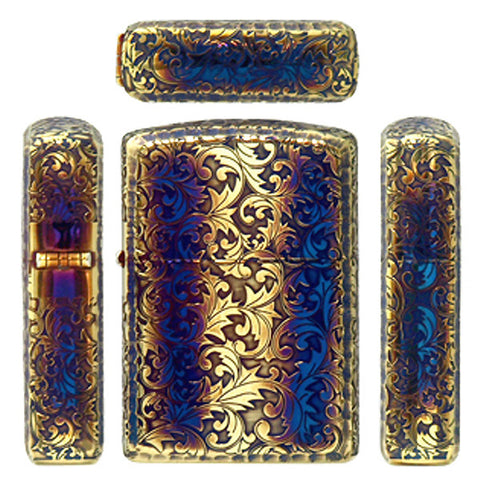Armor Japan Zippo Lighter 5 sides Design Arabesque Etching Smoke Gold