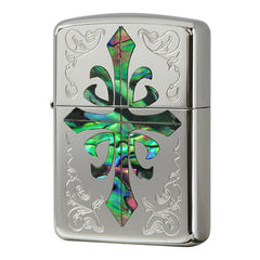 Armor Japan Zippo Lighter Shell Inlay Both Sides Design Cross