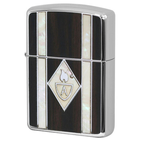 Armor Zippo Lighter Natural Wood & Natural Shell Inlay 162WS-WH