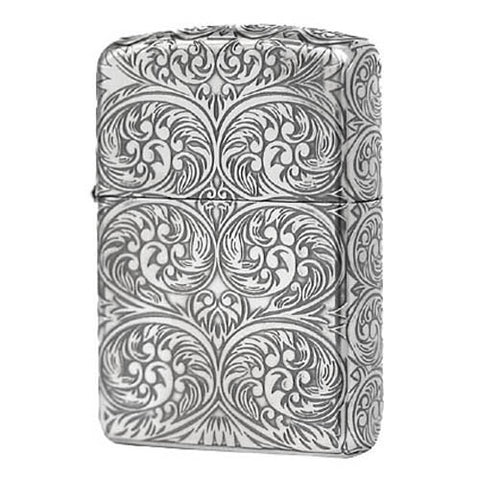 Armor Japan Zippo Lighter 5 sides Design Antique Arabesque Silver plating (C)
