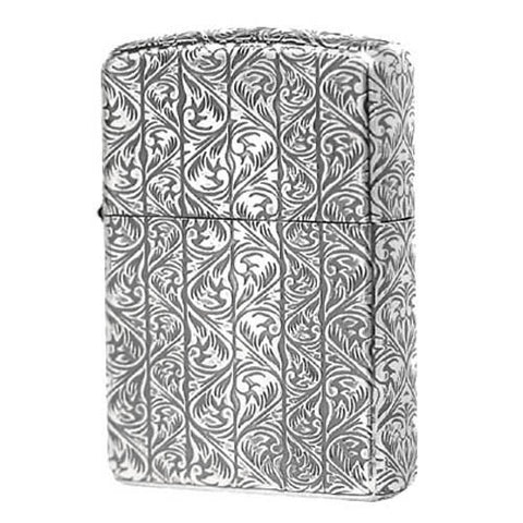 Armor Japan Zippo Lighter 5 sides Design Antique Arabesque Silver plating (D)