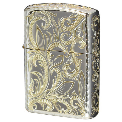 Armor Japan Zippo Lighter 5 sides Design Classic Arabesque Silver CLA-C