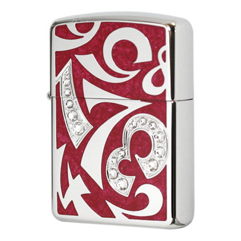 Armor Zippo Lighter New Dial Number Design Red Epoxy polish Rhinestone