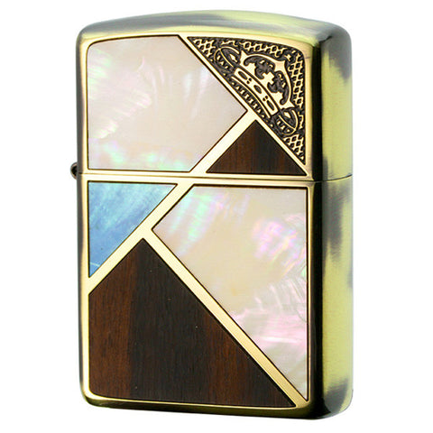 Armor Zippo Lighter Corner Crown Natural Wood & Natural Shell Inlay BS