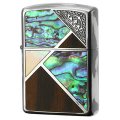 Armor Zippo Lighter Corner Crown Natural Wood & Natural Shell Inlay SV