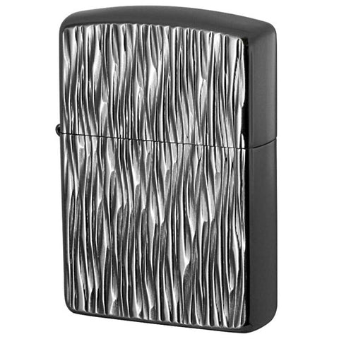Armor Japan Zippo Lighter Both sides Design Heat Haze Silver & Black
