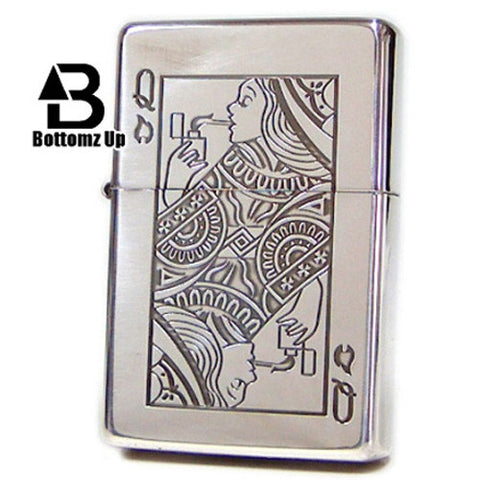 Zippo Lighter Bottomz Up Playing cards Queen Girl Lady Japan design Rare