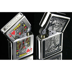 Zippo Lighter Bottomz Up Playing Cards King & Skull Both Sides Japan Design