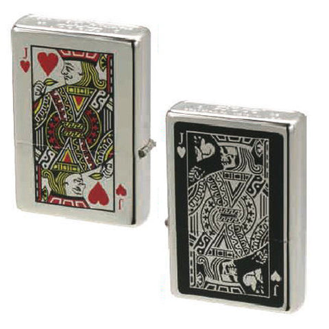 Zippo Lighter Bottomz Up Playing Cards Jack & Skull Both Sides Japan Design
