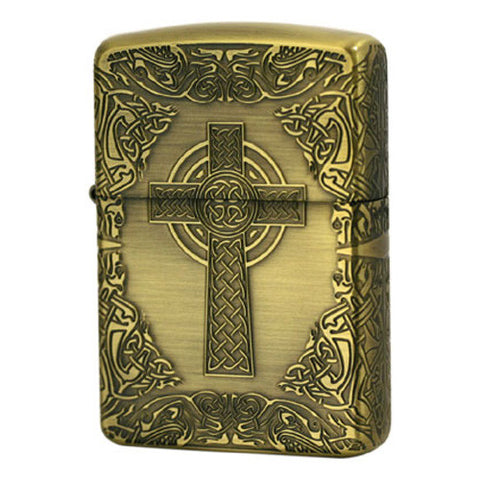 Armor Zippo Lighter Celtic Cross Design Gold Brass