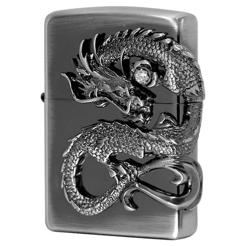 Zippo Lighter Japanese Dragon Side Metal 2 Nickel Old FinishDS-Ni