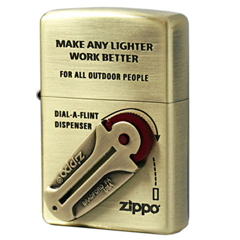 Zippo Lighter Metal Raal Flint Dispenser Design Gold