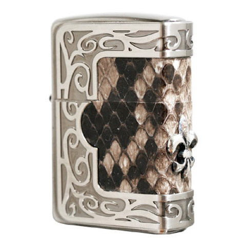Zippo Lighter Frame Natural Python Leather Metal Lily