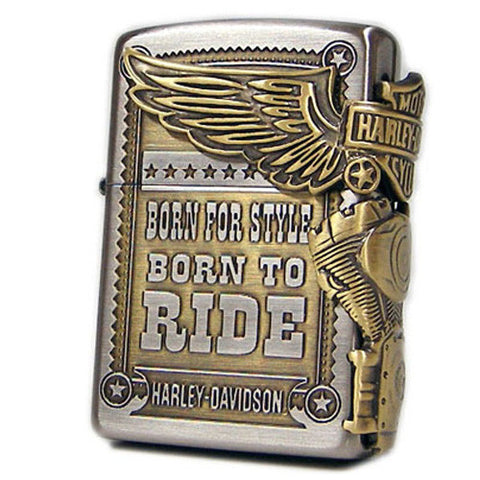 Zippo Lighter Harley Davidson Brass Metal Japan Limited Model HDP-27