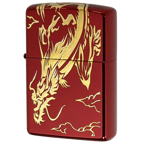 Zippo Lighter Dragon 3-sides Design Ion Red Coating Gold