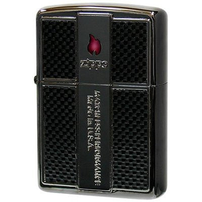 Japan Zippo Lighter Carbon Fiber Plate Epoxy Red Flame Black Nickel Mirror Finish