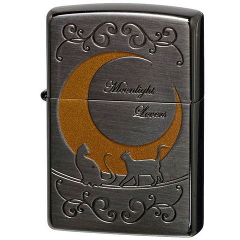 Zippo Lighter Crescent Moon Two Cats Moonlight Lovers Series A