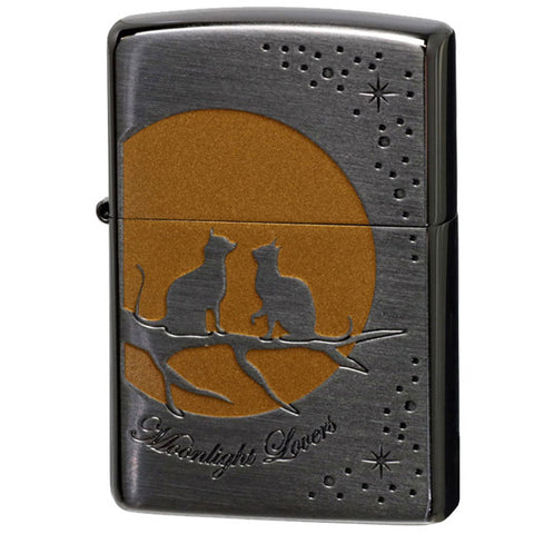 Zippo Lighter Full Moon Two Cats Moonlight Lovers Series D