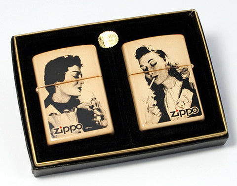 Zippo Lighter old newspaper Vintage Retro Advertisement AD Lady Pair Set