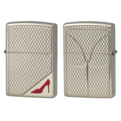 Zippo Lighter RED High Heels Nickel Oxidized Both Sides Design