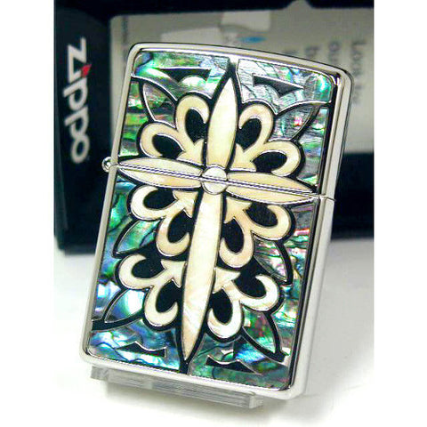 Zippo Lighter Natural White Black Shell Peral Inlay Cross Arabesque Japan Desing