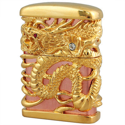 Zippo Lighter Full Metal Jacket Japanese Dragon Pink Gold Plating 4sides Carving