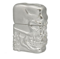 Zippo Lighter High Grade Deluxe 3D Skull Metal Jacket Silver Plate 80μ Coating