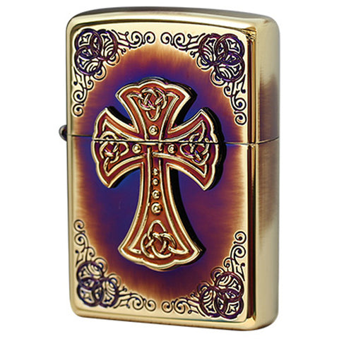 Zippo Lighter Arabesque Cross Metal Design Gold