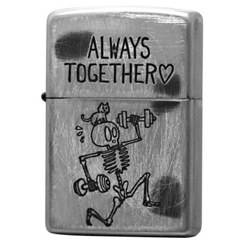 "Zippo Lighter FUNNY SKULL ""ALWAYS TOGETHER"""