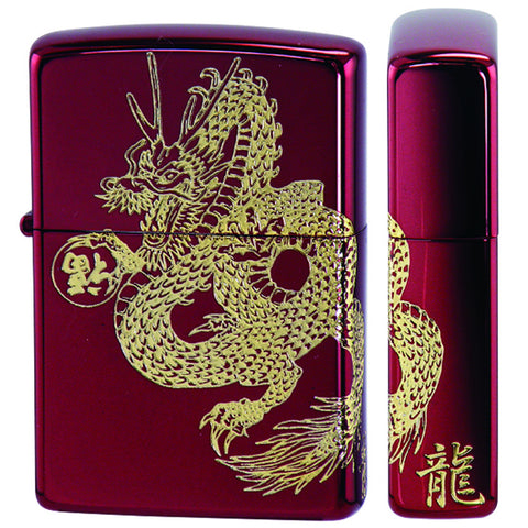 Zippo Lighter Japanese Dragon 2-sides Design Ion Red Combination Gold