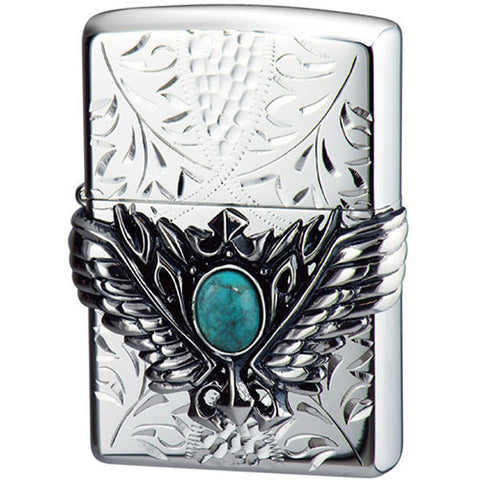 Zippo Lighter 3D Wing Metal Hand-carved Sculpture Turquoise Silver